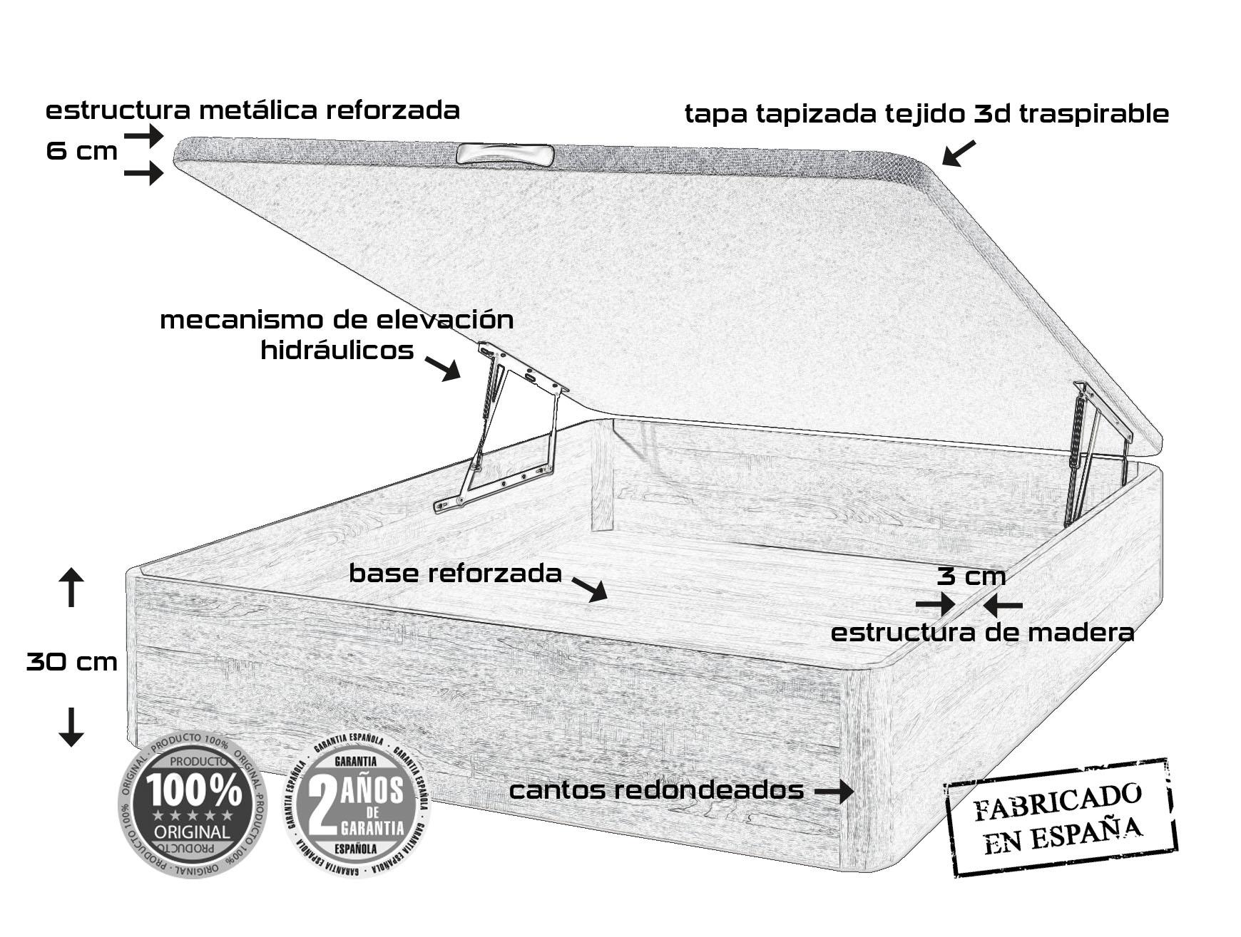 CANAPE PLUS 150X190 ROBLE/1TIR.MADERA/TAPA 3D+TST 2