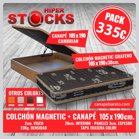 Pack canap� abatible Estrella + Colch�n  grafeno 105